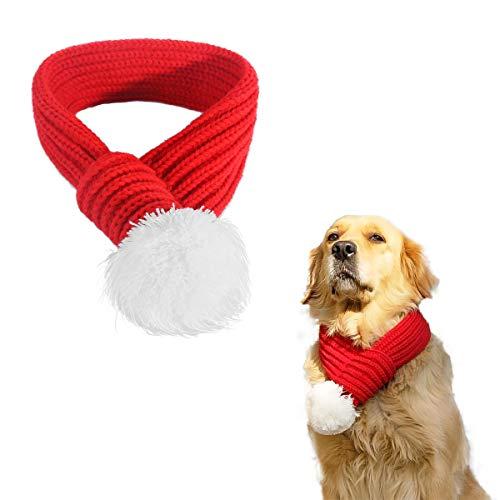 PEDOMUS Haustier Kostüm Weihnachten Schal rot Pet Schal Haustier Bekleidung für Hunde und Katzen