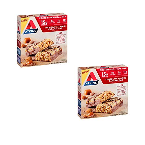 Atkins Protein-Rich Meal Bar, Chocolate Almond Caramel, Keto Friendly, 5 Count – Pack of 2