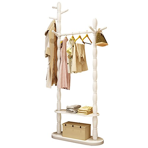 DYFYMX Hanger Solid Wood Simulation Paint Bedroom Floor Hanger Shelf Shoe Rack Free-Standing Coat and hat Rack (Color : White, Size : 2 Layer)