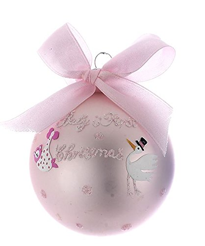 Baby's 1st Christmas Glass Ball Ornament (Pink)