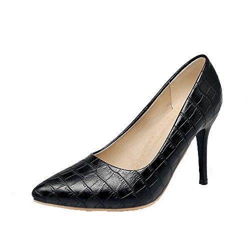 AgooLar Damen Ziehen auf Stiletto PU Streifen Schwarz Schließen Zehe Pumps Schuhe Schwarz Streifen 411b66
