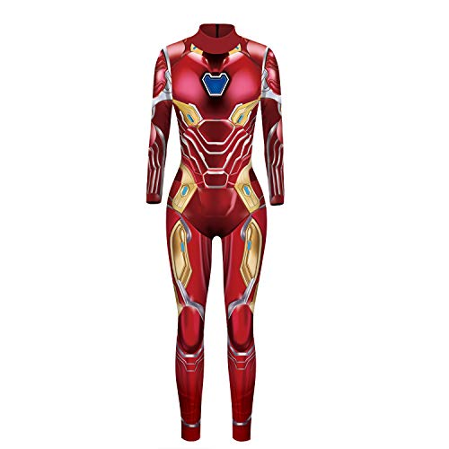 Women Captain Marvel Halloween Cosplay Costume Superhero 3D Jumpsuit Bodysuit (Small, Iron Man)]()