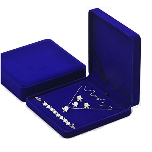 Junning Jewelry Set Velvet Box Necklace Earring Ring Necklace Bracelet Gift Display Case Wedding Jewelry Storage Holder (Royal Blue) (Jewelry Box Gift Set)