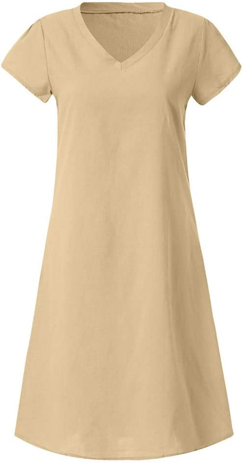 HZD Clothes Dress Women Summer Short Sleeve Dress Evening Party Beach Dress Khaki