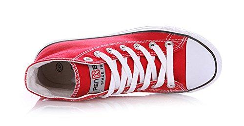 Sfnld Hommes Femmes Printemps Automne Classique Haut Haut Toile Chaussures Sneaker Rouge