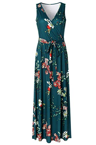 - Zattcas Womens V Neck Sleeveless Empire Waist Floral Maxi Dress,Teal Green,XX-Large