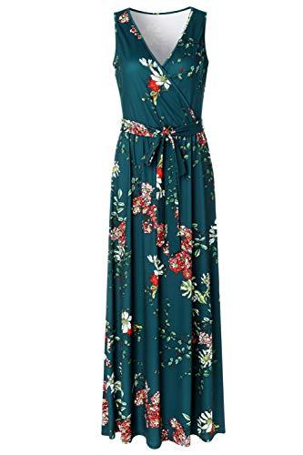 Zattcas Womens V Neck Sleeveless Empire Waist Floral Maxi Dress,Teal Green,Medium