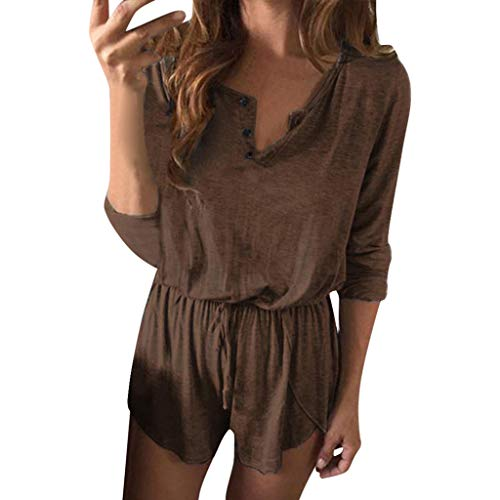 Sunhusing Women's Solid Color Button-Down V-Neck Bandage Lace-Up Long Sleeve Shorts Jumpsuit Casual Playsuit ()