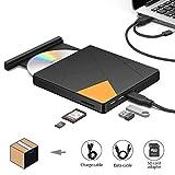 External DVD CD Drive,USB DVD Drive with USB/USB-C to USB 3.0,SD Card Reader,Portable Optical Drive CD DVD-RW Player Burner Writer Rewrite Compatible MacBook/Air/iMac,Windows7/8/10,Laptop,Desktop,Car