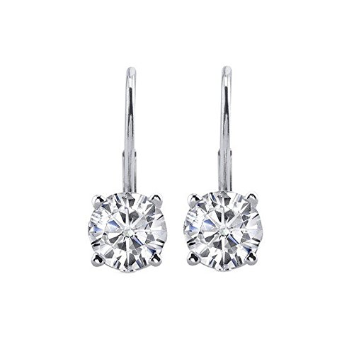 - JewelMore 0.30 CTW Round White Diamond Leverback Earrings in 14K White Gold (I-J-K/ I2-I3) (White Gold)