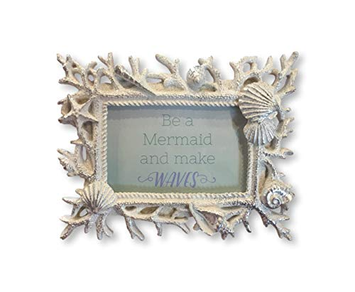Plum Nellie's Treasures Nautical Picture Frames Resin - Boating Wheel & Window & Ocean Inspired Seashells, Conch & Starfish Shaped Frames (Seashells Conch Picture Frame - Silver Glitter, 4x6) ()