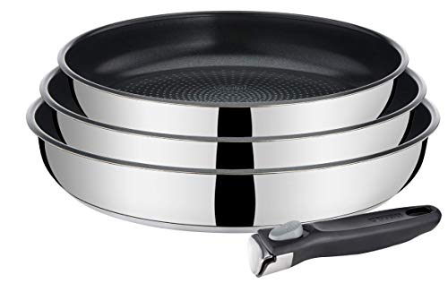 VIVALP L943S414 Set of 3 Stainless Steel Frying Pans + 1 Removable Handle, Suitable for All Heat Sources Including - Ceramic Pan Frying Tefal