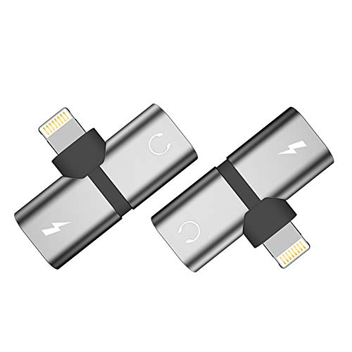 - AODSC Headphone Splitter Adapter,Compatible with iPhone X Xs max 7 8 Plus, Dual IP Ports Jack Aux Audio & Charging & Calling & Sync Cable Connector Earphone Charger Adapter【2 Pack】(Silver)