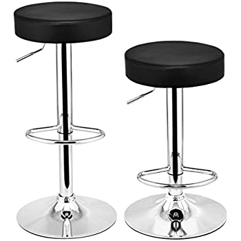 Costway Set of 2 Round Leather Seat Chrome Leg Chair Adjustable Hydraulic Swivel Bar Stool (  sc 1 st  Amazon.com & Amazon.com: Costway Set of 2 Round Leather Seat Chrome Leg Chair ... islam-shia.org