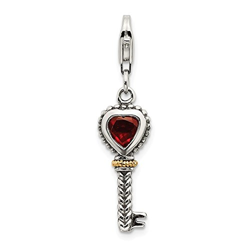FB Jewels Sterling Silver with 14k Garnet Antiqued Key with Lobster Clasp Charm ()