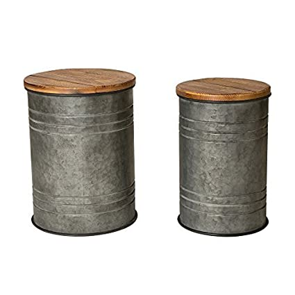 Charming Glitzhome Rustic Storage Bins Metal Stool Ottoman Seat With Round Wood Lid  Set Of 2