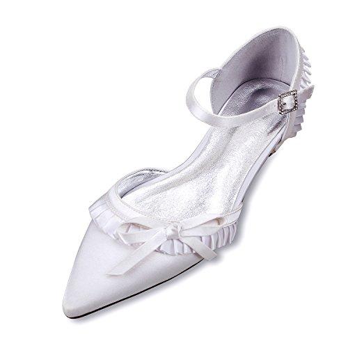 scarpe scarpe Bow basse scarpe grande calzature moda e Suggerimento seta Qingchunhuangtang raso Tie versatile Bianco matrimonio in piano alla di con 5zBc4wx