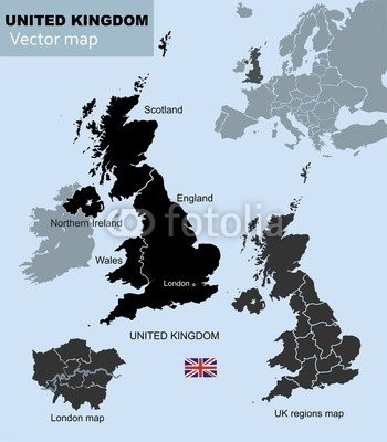 United Kingdom London Map.Map Of United Kingdom Countries Uk Regions And London Vector