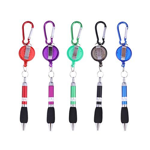- WINOMO Keychain 3-in-1 Handy Retractable Badge Reel Pen Belt Clip - 5 pcs