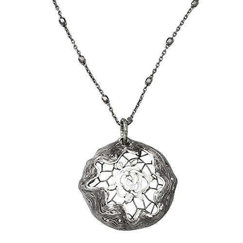 Leslie's 925 Sterling Silver Diamond-cut and Ruthenium Plated Beaded Pendant Necklace (Square DC Bead Chain) (Necklace Square Sterling 925 Bead)