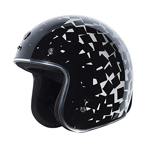 TORC Unisex-Adult Cruiser-Motorcycles Helmet (Gloss Black Polygonious Large