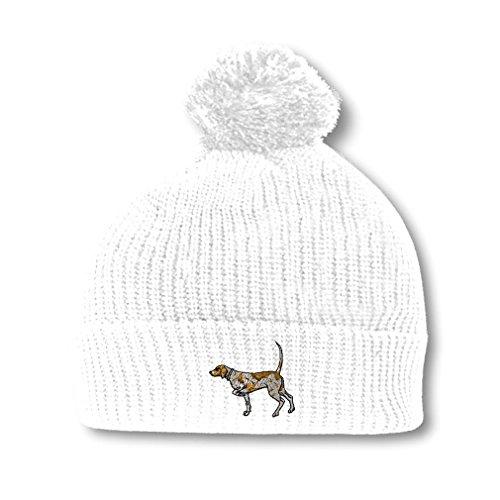 German Shorthaired Pointer Hat - German Shorthaired Pointer Embroidery Embroidered Pom Pom Beanie Skully Hat Cap White