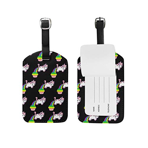 AnleyGardeflagsU Cupcake Rainbow Unicorns Patern Carnival Cruise Tags Luggage Bag Tag Set Of 2