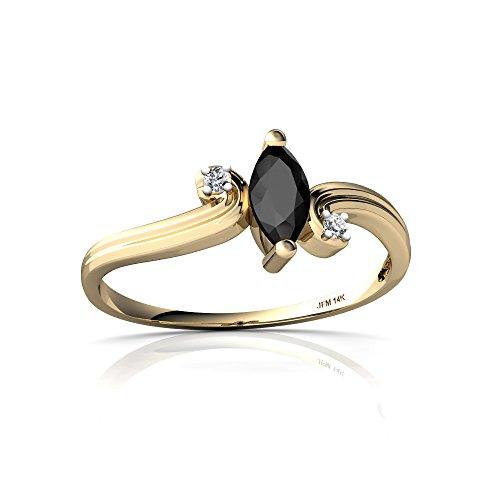 14kt Yellow Gold Black Onyx and Diamond 6x3mm Marquise Ocean Waves Ring - Size - Gold Diamond Ring Wave