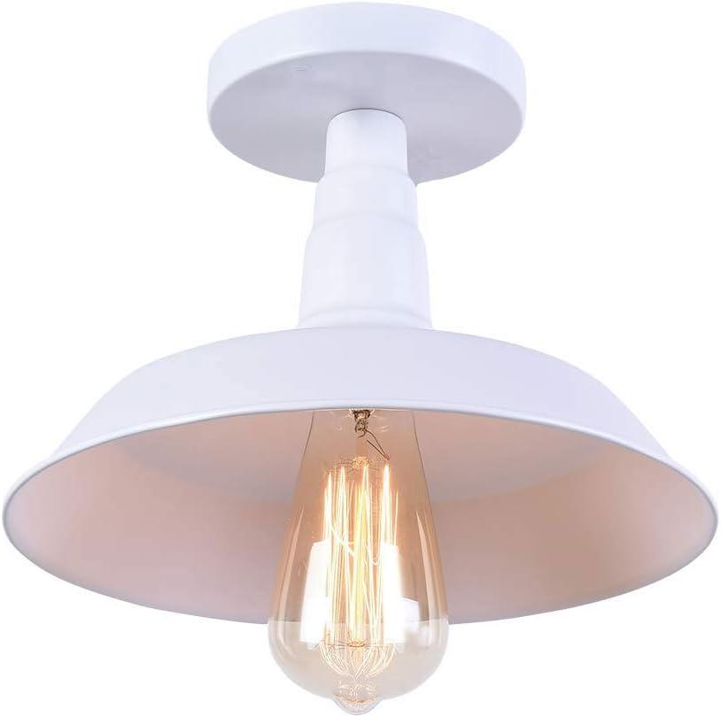 Lighting Industrial Edison Semi Flush Mount Mini Vintage Ceiling Light (Bulb Not Included) (blanco): Amazon.es: Iluminación