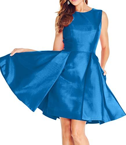 Partykleider Mini Brautjungfernkleider 2018 Kurz Satin mia Abschlussballkleider Abendkleider Braut La Blau Ballkleider 8UfCwx4q
