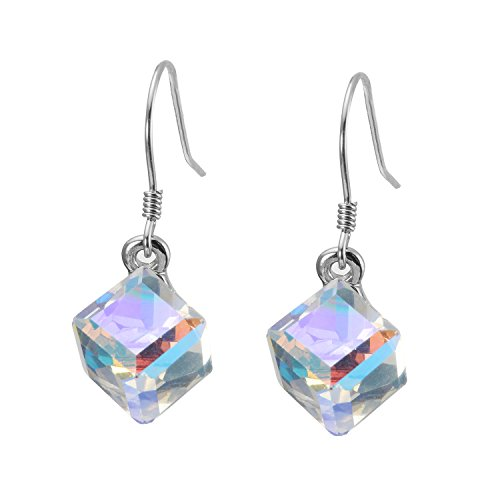 - Crystal Drop Dangle Earring Color Crystals Earring Magic Fashion Crystal Cube Earrings for Women Girl (platinum-plated-copper)