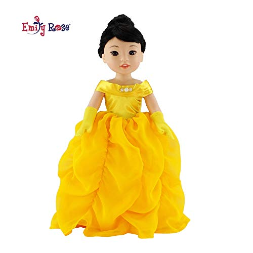 Emily Rose 14Inch Doll Clothes/Clothing   Gorgeous Princess Belle-Inspired Costume Ball Gown Outfit with Matching Gloves   Perfect Halloween Costume!   Fits American Girl Wellie Wisher Dolls