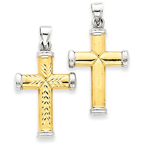 14k Yellow Gold Reversible Latin Cross Pendant With Rhodium End Caps (14k Yellow Gold End Cap)
