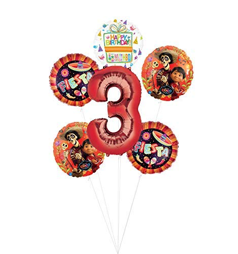 Coco Party Supplies 3rd Birthday Fiesta Balloon Bouquet Decorations - Red Number -