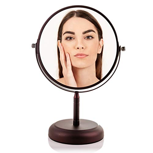 OVENTE Round Tabletop Vanity Mirror, 7 Inch, Dual-Sided with 1x 5x magnification, Antique Bronze MNLDT70ABZ1X5X