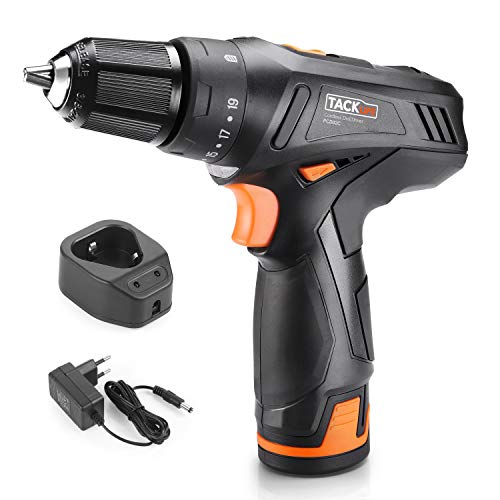 12V 2000mAh Lithium-Ion Cordless Drill, Tacklife PCD02C Drill 3/8-Inch Chuck Max Torque 220 In-lbs, 2 Speed, 19+1 Position with LED, Spindle Lock Function by TACKLIFE