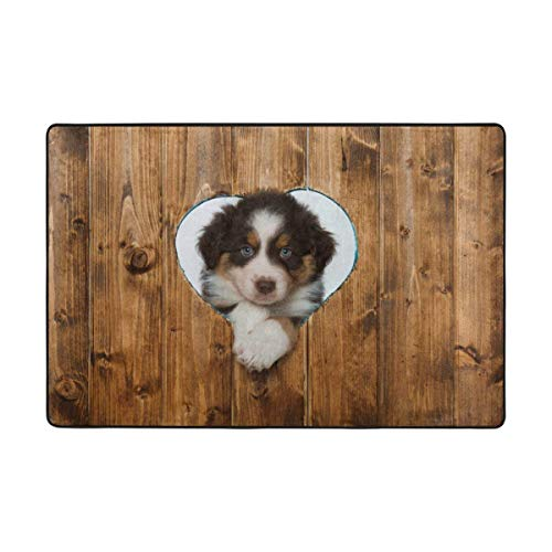 Ustcyla Doormats Rugs Non Slip Puppy Looks Through A Heart in The Wall Door Mats Playmats Carpets Soft Memory Foam Printing for Living Room Kids Bedroom Playing Room 23.6 X15.7 inch -
