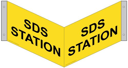 ComplianceSigns Aluminum MSDS / Right to Know 3D Projection Sign, 13 x 10 with English, Yellow