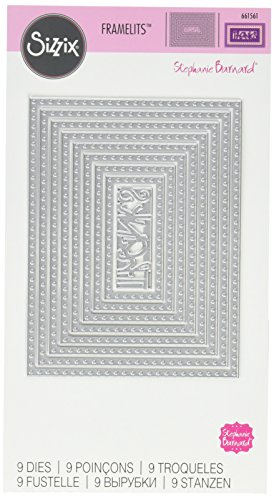 Sizzix 661561 Framelits Die Set, Rectangles, Dotted by Stephanie Barnard (9/Pack) by Sizzix