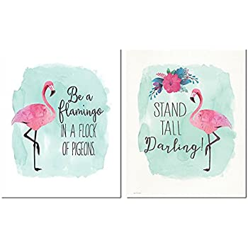 Gango Home Décor Tropical Inspirational Watercolor Flamingo Stand Tall Darling and Be A Flamingo in A Flock of Pigeons Set; Two 11x14in Unframed Paper Poster Prints