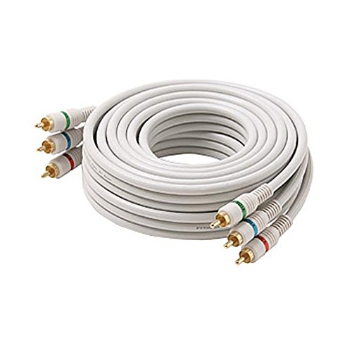 (75 FT 3 RCA Component Cable Python 3 Male Each End Ivory Gold Stereo RGB HDTV Color Coded Connectors Double Shielded 3-RCA Cable Digital Signal Jumper)