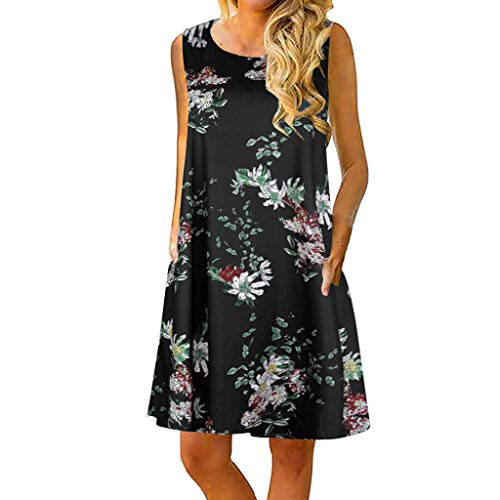 TUSANG Women Skirt Casual Sleeveless Printed Swing Mini Dress Sundress with Pocket Round Collar Loose Fit Comfy ()