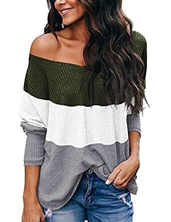 NIASHOT Womens Off The Shoulder Knit Sweater Baggy Halloween Casual Tops Green White M