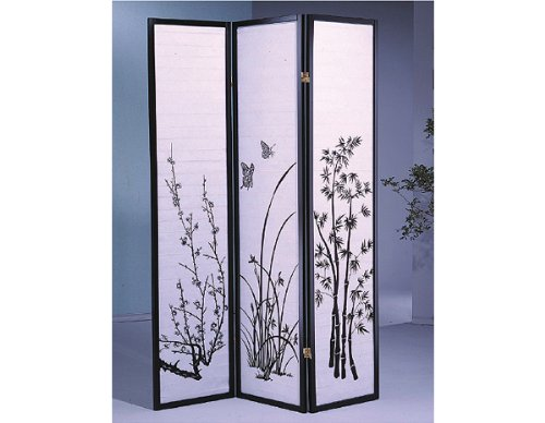 - 3 Panel Bamboo Floral Room Divider