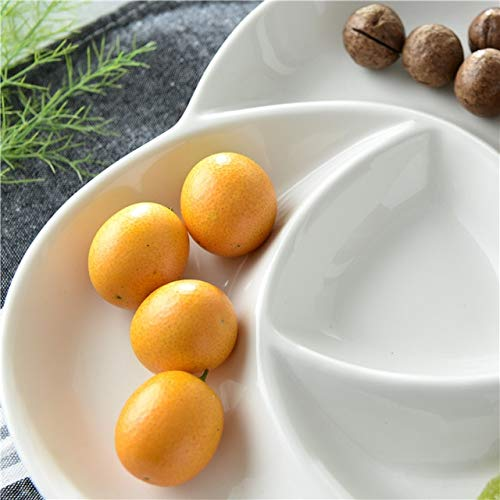 BeesClover Spiral Ceramic Divided Plate Decorative Porcelain Assorted Serving Dish Tableware Dishware Receptacle for Candy, Fruit and Snack White