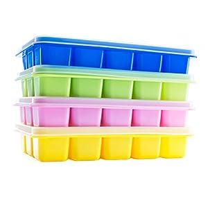 Beicemania - Vaschetta per cubetti di ghiaccio in silicone, con coperchio, 17,5 x 11,3 x 3 cm, multicolore, 4 pezzi 11 spesavip