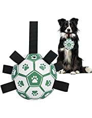 PEWOD Interactive Dog Soccer Ball Toys with Grab Tabs | Dog Tug Toy for Fetching, Chasing and Releasing | Floating Durable Dog Toy for Medium Big Dogs