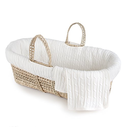 Tadpoles Cable Knit Moses Basket and Bedding Set, Ivory, - Knit Basket