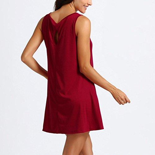 Donne Delle Corto Maniche Senza Sexy Spiaggia Abito Altalena Maniche Dalla Maglietta Rosso L'estate Casuale Crstell Vestito Vestito vqzSZzpw