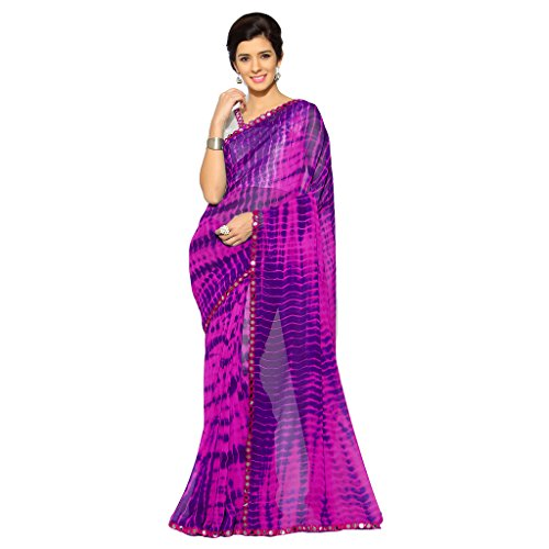 Sourbh Mirchi Fashion Women's Faux Georgette Shibori Print Saree (2682_Pink,Purple) (Saree Print)
